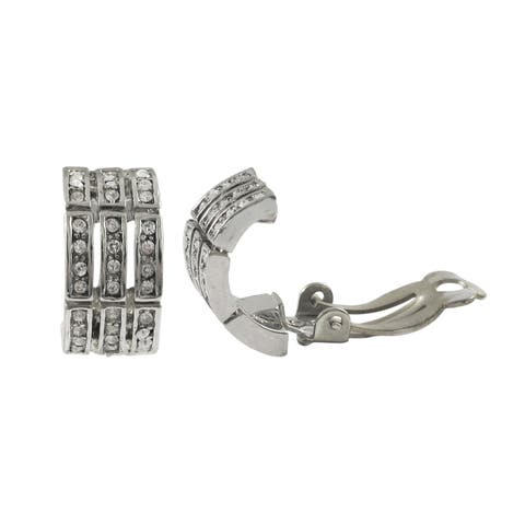 Luxiro Rhodium Finish Pave Crystals Channel Saddleback Clip-on Earrings - Silver