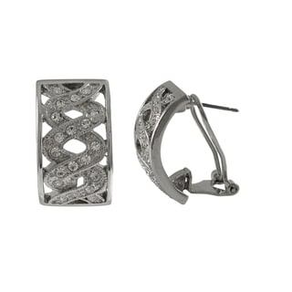 Luxiro Rhodium Finish Pave Crystals Double Helix Huggie Earrings