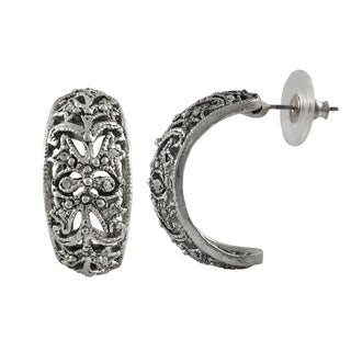 Luxiro Rhodium Finish Pave Crystals Filigree Huggie Earrings