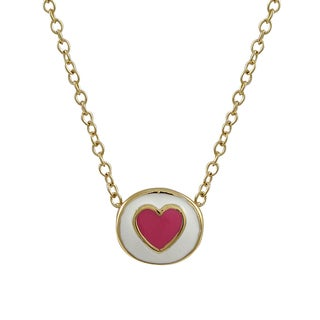 Luxiro Gold Finish Children's Multi-color Enamel Heart Pendant Necklace