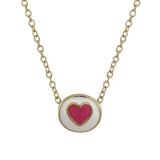 Luxiro Gold Finish Children's Multi-color Enamel Heart Pendant Necklace