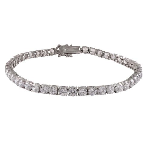 Luxiro Sterling Silver Cubic Zirconia 4-mm Tennis Bracelet