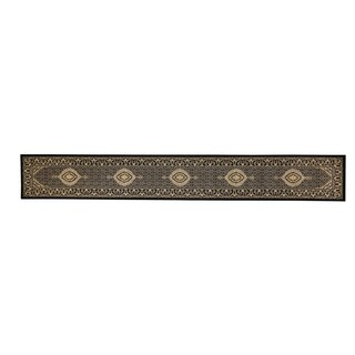 Linon Persian Treasures Mahi Tabriz Black Oriental Polypropylene Stair Runner Rug (2'3-inch x 16' - 2'3 x 16'