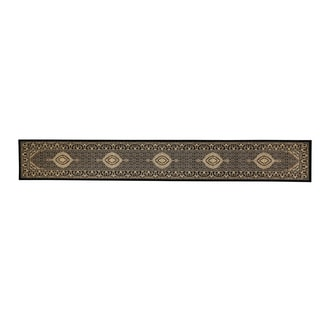 Linon Persian Treasures Mahi Tabriz Black Oriental Polypropylene Stair Runner Rug (2'3-inch x 16'