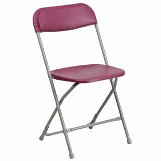 Berko Burgundy Folding Chairs with Draining Holes