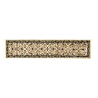 Linon Persian Treasures Isfahan Cream Floral Polypropylene Stair Runner Rug (2'3-inch x 16')