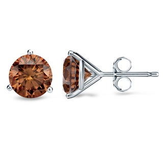 Auriya 14k White Gold 1/2ct to 2ct TDW Martini-set Brown Diamond Stud Earrings