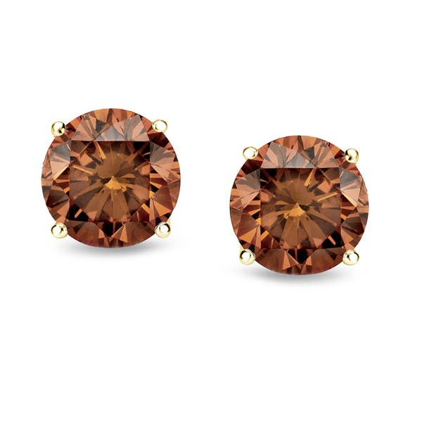 Auriya 1 4 To 2ctw Brown Diamond Stud Earrings 14k Yellow Gold Overstock 10364185