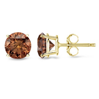 Auriya 14k Yellow Gold 1/2ct to 2ct TDW 4-Prong Brown Diamond Stud Earrings