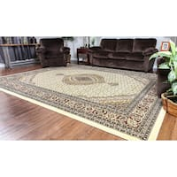 Linon Persian Treasures Mahi Tabriz Cream Oriental Polypropylene Rectangular Area Rug (8' x 10')