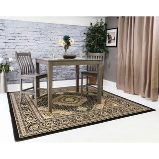 Linon Persian Treasures Mahi Tabriz Black Oriental Polypropylene Square Area Rug (8' x 8')