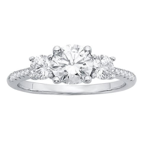 Divina Sterling Silver 5/8ct Austrian Crystal and Cubic Zirconia Engagement Ring