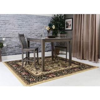 Linon Persian Treasures Nain Cream Floral Polypropylene Square Area Rug (8' x 8')