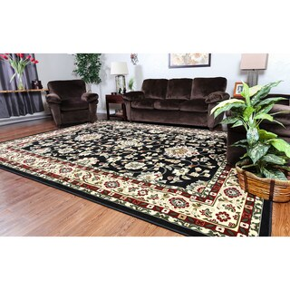 Linon Persian Treasures Isfahan Black Floral Polypropylene Rectangular Area Rug (8' x 10')
