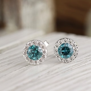 Auriya 14k White Gold 1/2ct to 2ct TDW Blue Diamond Halo Stud Earrings (I1-I2)