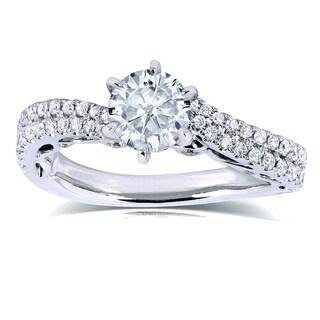 Annello by Kobelli 14k White Gold Moissanite and 2/5ct TDW Diamond Ring (H-I, I1-I2)