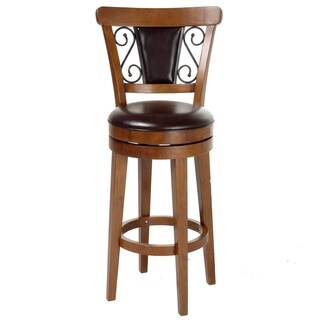 Trenton Wood Bar or Counter Stool with Brown Upholstered Swivel-Seat