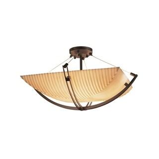 Justice Design Group Porcelina Crossbar 3-light Dark Bronze Square Bowl Semi-flush, Pleats Shade