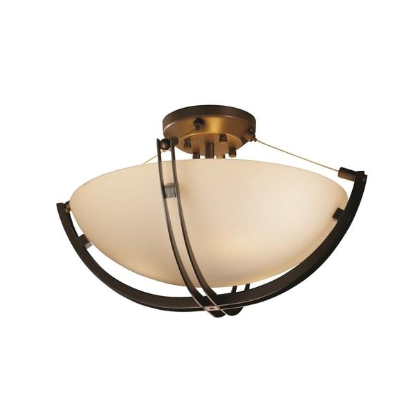 Justice Design Group Fusion Crossbar 3-light Dark Bronze Round Bowl Semi-flush, Opal Shade