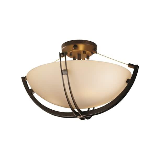 Shop Justice Design Group Fusion Crossbar 3 Light Dark Bronze Round Bowl Semi Flush Opal Shade Overstock 10364303