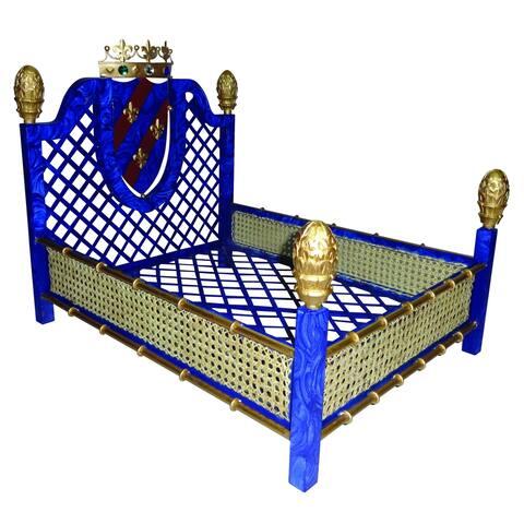 Faux Lapis Crown and Lattice Luxury Pet Bed - Faux Lapis