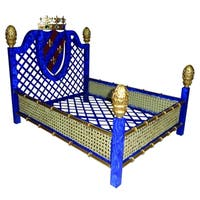 Faux Lapis Crown and Lattice Luxury Pet Bed