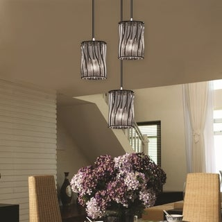 Justice Design Group Wire Glass 3-light Mini Cluster Pendant, Nickel