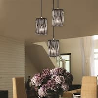 Justice Design Group Wire Glass 3-light Brushed Nickel Cluster Mini-pendant