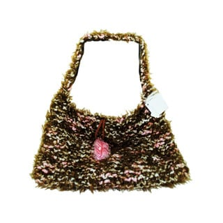 Hand Knit Brown/Pink Over-The-Shoulder Bag