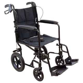 Roscoe Medical Transport Chair with 12-inch Rear Wheels and Black Aluminum Frame