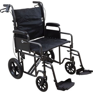 Roscoe Medical Transport Chair with 12-inch Rear Wheels and Silver Vein Steel Frame