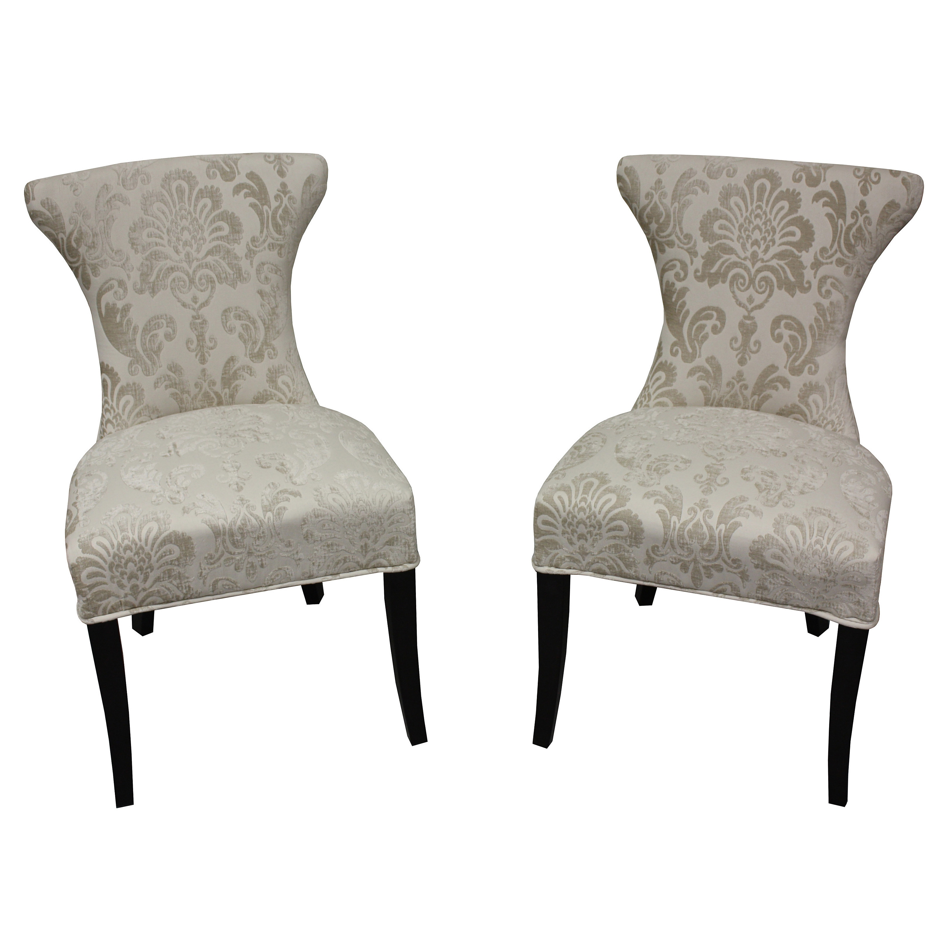 HD Couture Cosmo Cream (Ivory) Fan Damask Dining Chair (S...