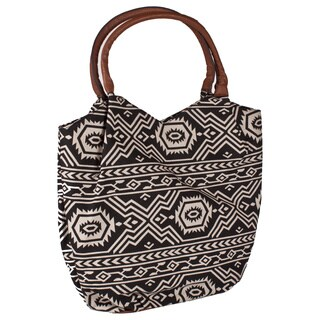 Bueno 2-in-1 'Lucy' Aztec Canvas and Vegan Leather Tote Handbag