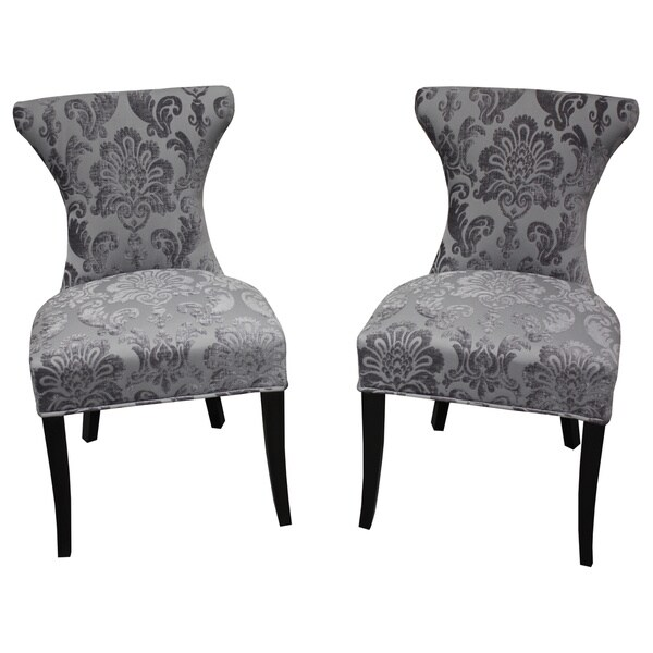 Cosmo Grey Fan Damask Dining Chair Set of 2 Free Shipping – Damask Dining Room Chairs
