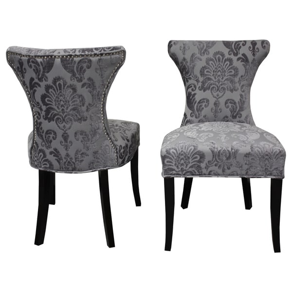 Exceptionnel Cosmo Grey Fan Damask Dining Chair (Set Of 2)