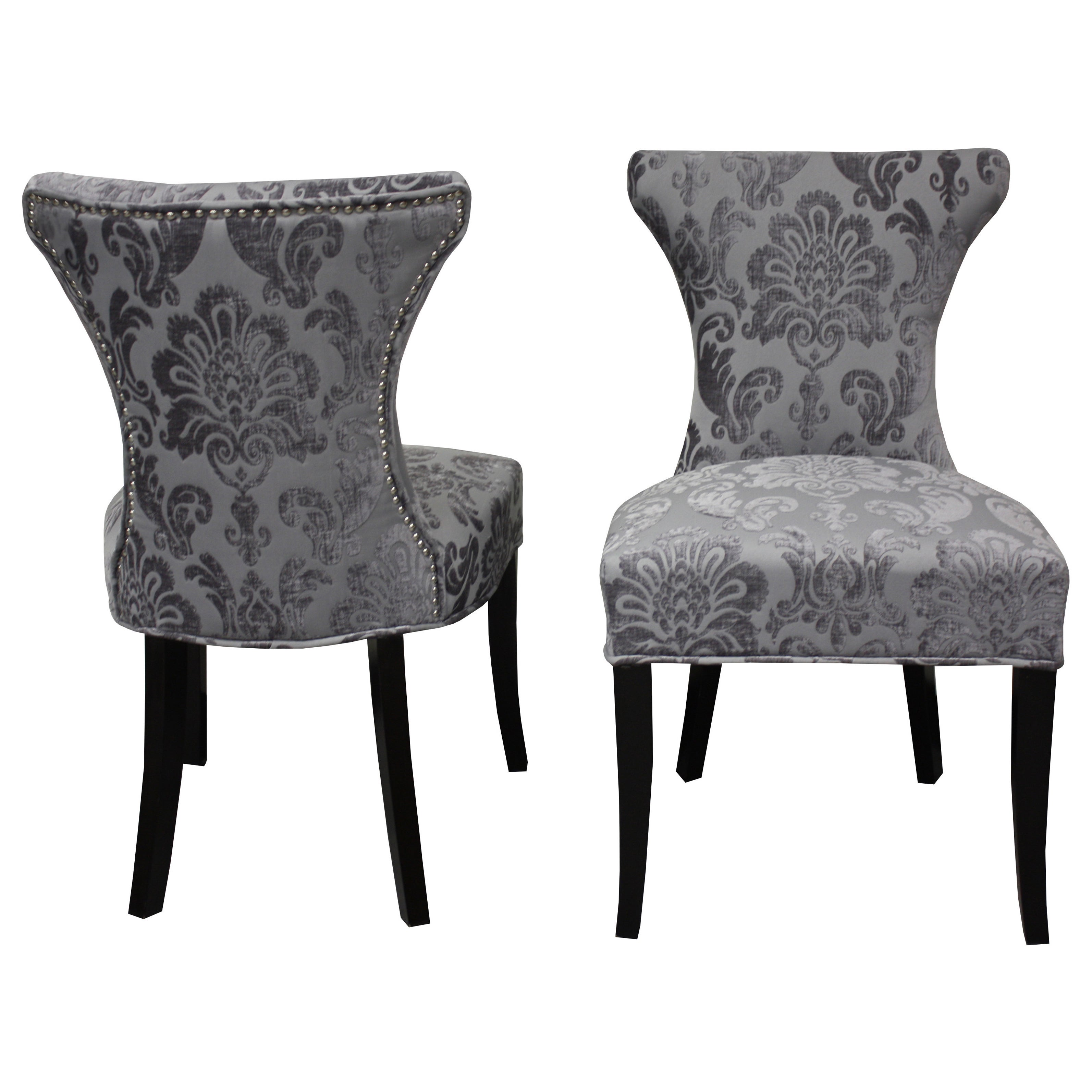 HD Couture Cosmo Grey Fan Damask Dining Chair (Set of 2) ...