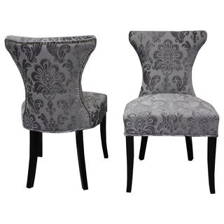 Cosmo Grey Fan Damask Dining Chair (Set of 2)