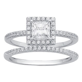 Divina Sterling Silver 3/8ct Austrian Crystal Cubic Zirconia Wedding Ring Set