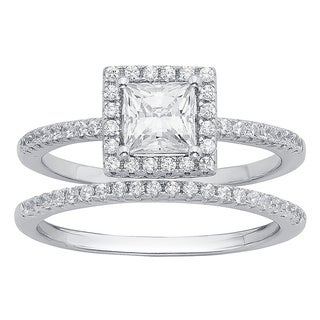 Divina Sterling Silver 3/8ct Austrian Crystal Cubic Zirconia Wedding Ring Set