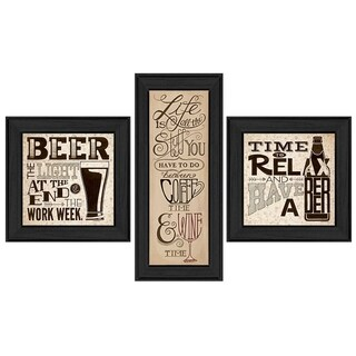 """Beer Time"" Collection By Deb Strain, Printed Wall Art, Ready To Hang Framed Poster, Black Frame"