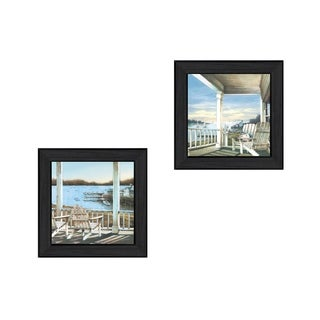 """""""Lake Side"""" Collection By John Rossini, Printed Wall Art, Ready To Hang Framed Poster, Black Frame"""