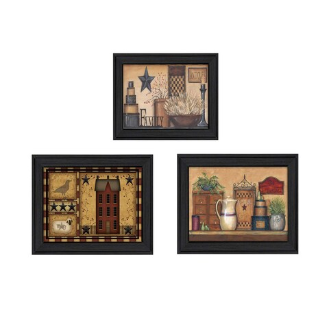 """Primitive Saltbox"" Collection By Carrie Knoff, Printed Wall Art, Ready To Hang Framed Poster, Black Frame"