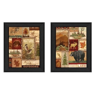 """Lodge Collage"" Collection By Ed Wargo, Printed Wall Art, Ready To Hang Framed Poster, Black Frame"
