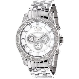 Luxurman Men's Midsize 1/2ct TDW Diamond Stainless Steel Watch