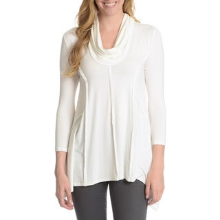 Chelsea & Theodore Women's Cowl Neck Top with Exposed Seam Details