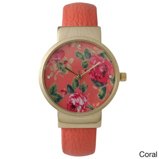 Olivia Pratt Women's Floral Leather Cuff Watch