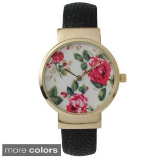 Olivia Pratt Women's Floral Leather Cuff Watch