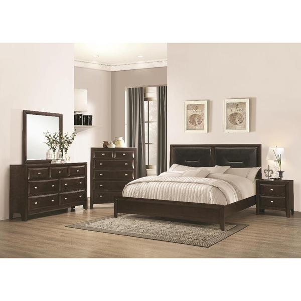 Acalanes Wood And Brown Bonded Leather 5 Piece Bedroom Set