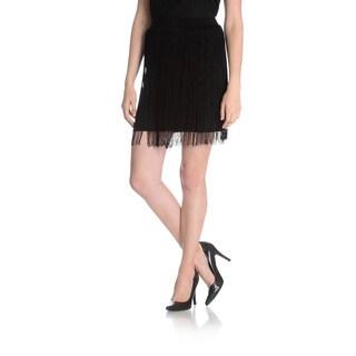 Chelsea & Theodore Women's Thin Fringe Mini Skirt