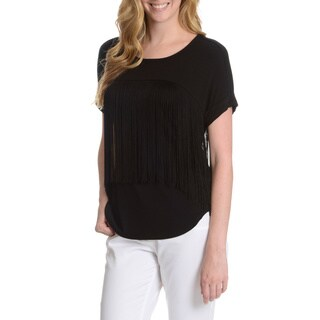 Chelsea & Theodore Women's Fringe Short Sleeve Top
